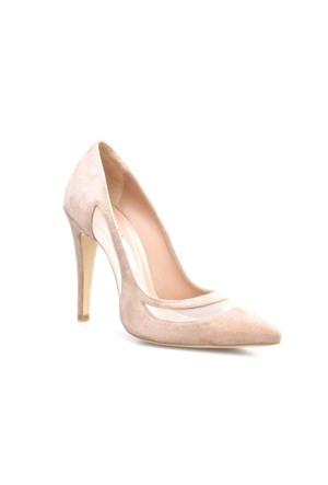 Cabani Stiletto Günlük Kadın Ayakkabı Bej Süet
