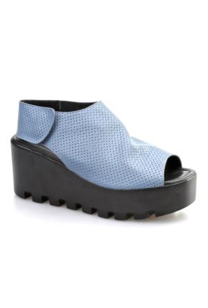 Cabani Açık Burun Günlük Kadın Ayakkabı Mavi Deri