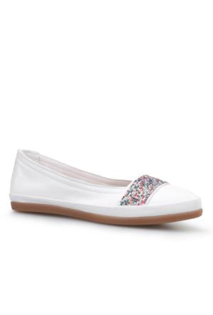 Cabani Kemerli Günlük Kadın Ayakkabı Beyaz Deri