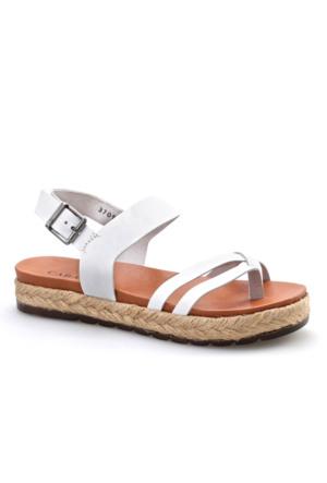 Cabani Parmak Arası Günlük Kadın Sandalet Beyaz Deri