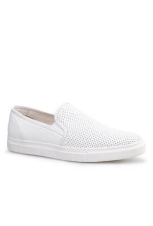 Cabani Lazerli Sneaker Erkek Ayakkabı Beyaz Kırma Deri
