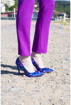 Sofistiqe Mavi Lips Topuklu Ayakkabı