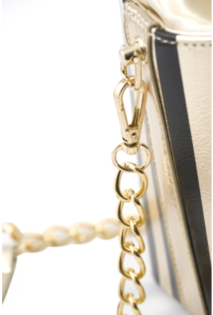 Eos Siyah Pop Corn Kutusu Tasarımlı Gold Zincirli Çanta