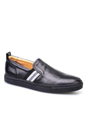 Cabani Lastikli Sneaker Erkek Ayakkabı Siyah Deri