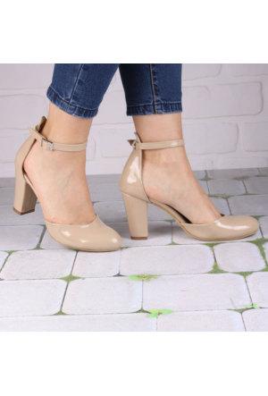 İnce Topuk Bej Rugan Bilekten Bağlamalı Ayakkabı