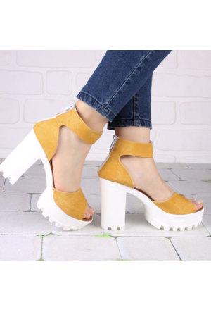 İnce Topuk Hardal Kalın Topuklu Ayakkabı