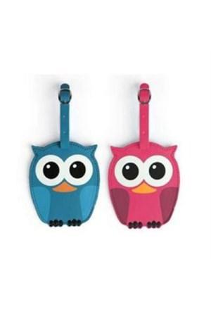 BuldumBuldum Whoo Owl Luggage Tag - Baykuş Bavul Etiketi - Mavi