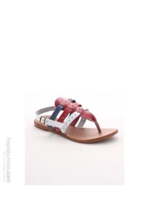 Gio&Mi Beyaz - Kırmızı Sandalet V18
