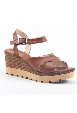 Armoni 102 Hafif Ortopedik 7Cm Dolgu Topuk Kadın Günlük Sandalet