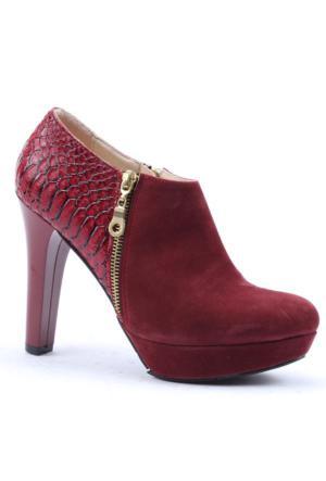 Asm Topuklu Fermuarlı Süet Kadın Ayakkabı