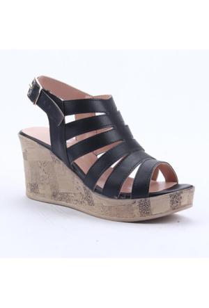 Cudo 32437 Günlük Dolgu Topuk Boy 8Cm Kemerli Kadın Sandalet