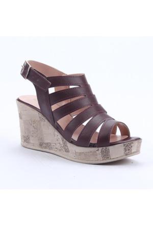 Cudo 32438 Günlük Dolgu Topuk Boy 8Cm Kemerli Kadın Sandalet