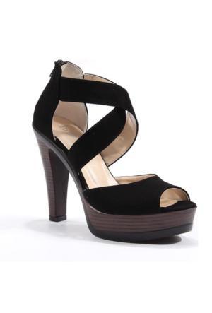 Perim 720 Günlük Çapraz Bantlı Süet Topuklu 12 Cm Kadın Sandalet