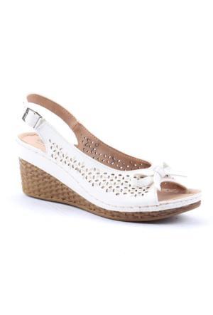 Polaris 4166 Günlük Ortopedik 7Cm Topuklu Kadın Sandalet