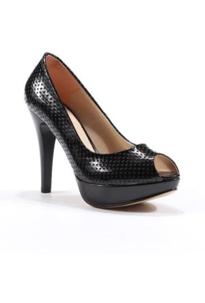 Topuz Platform Topuk Önü Açık Kadın Ayakkabı