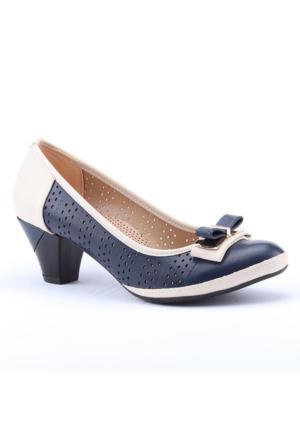 Ermod 2751 Günlük Lazer Kesim Fındık Kadın Topuklu Ayakkabı