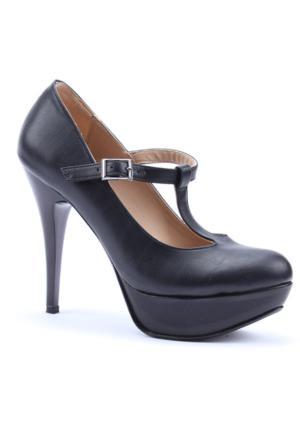 Obims Kayışlı Platform Cilt Topuklu Kadın Ayakkabı