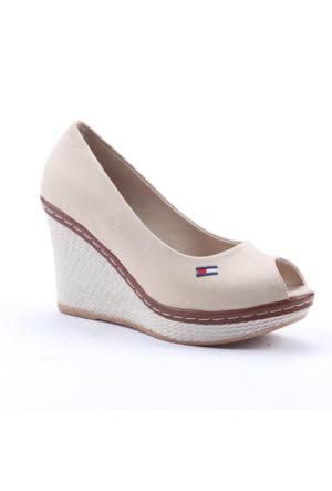 Leona Lewis 30573 Boy 9Cm Günlük Dolgu Topuk Keten Ayakkabı