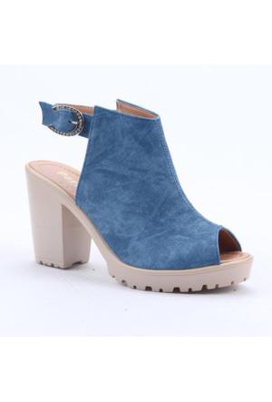 Perim 1205 Bilekten Bağlamalı Günlük Bayan Topuklu Sandalet