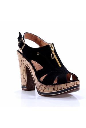 Perim 715 Fermuarlı Süet Topuklu 12 Cm Kadın Sandalet