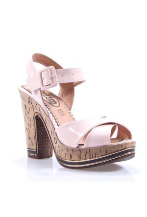 Perim 721 Günlük Çapraz Bantlı Rugan Topuklu 12 Cm Kadın Sandalet
