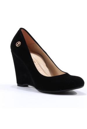 Topuz Süet Dolgu Topuk Ayakkabı