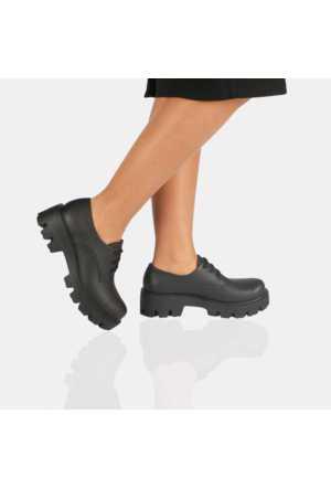 Modabuymus Siyah Mat Kalın Taban Maskulen Bayan Ayakkabı
