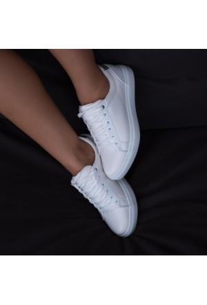 Modabuymus Hafif Eva Tabanlı Beyaz Bayan Ayakkabı