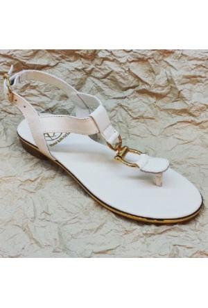 Modabuymus Beyaz Deri Bayan Sandalet