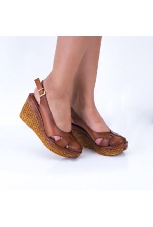 Modabuymus Taba Dolgu Taban Deri Sandalet