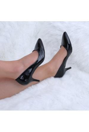Modabuymus Siyah Rugan Alçak Topuklu Stiletto