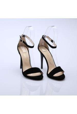 Modabuymus Süet Siyah Bantlı Bayan Platform Ayakkabı