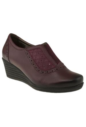 Forelli 10132 Flex Serit Comfort Feta Bordo Kadın Ayakkabı