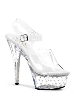 Şeffaf Savaroski Taşlı Bayan Ayakkabı