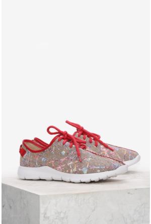 İlvi Paper 5374 Spor Ayakkabı Bej Kırmızı