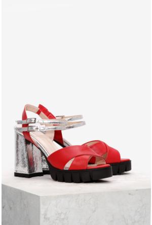 İlvi Miran 7101 Sandalet Kırmızı Gümüş