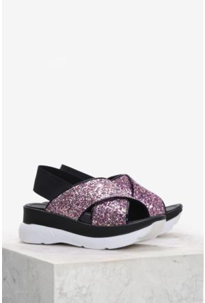 İlvi Zorvo V-13 Sandalet Siyah Pembe Simli