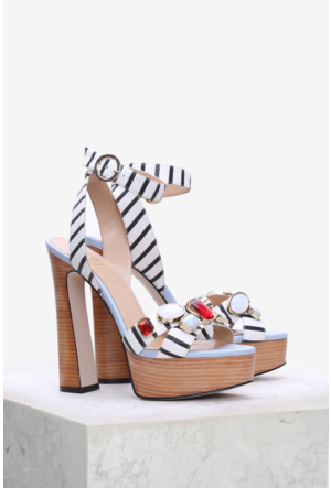 İlvi Carino 3784 Sandalet Siyah Beyaz