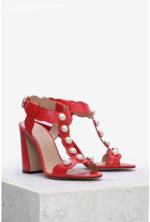 İlvi Rosa 3781 Sandalet Kırmızı Deri