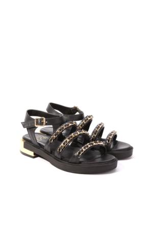 İlvi London 15611 Sandalet Siyah Deri