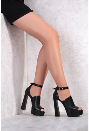 İlvi Lopez 3665 Sandalet Siyah Deri