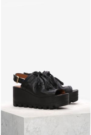 İlvi Romia 56204 Sandalet Siyah Deri