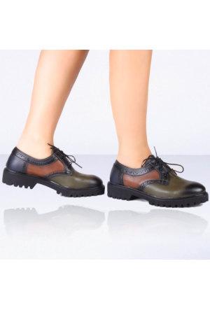 İnce Topuk Yeşil Oxford Ayakkabı