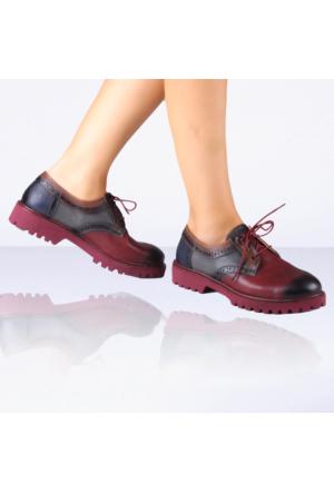 İnce Topuk Bordo Oxford Ayakkabı