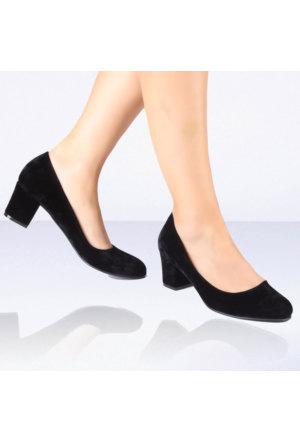 İnce Topuk Siyah Süet Kısa Topuklu Ayakkabı