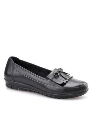 Cabani Püsküllü Günlük Kadın Ayakkabı Siyah Analin Deri