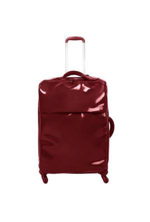 Lipault Plume Vınyle-Dört Tekerlekli Büyük Boy Valiz Kırmızı