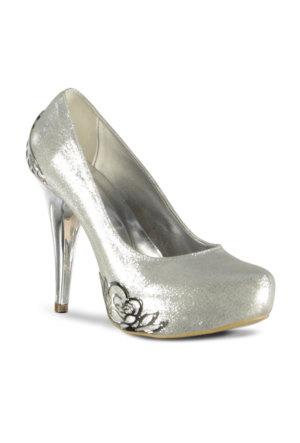 Marjin Fileto Topuklu Ayakkabı Gümüş