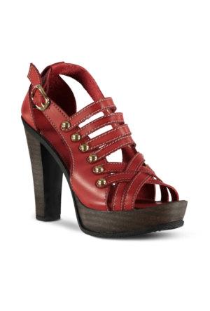 Marjin Teydan Topuklu Sandalet Kırmızı