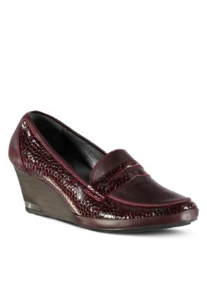 Marjin İsane Deri Dolgu Topuklu Ayakkabı Bordo
